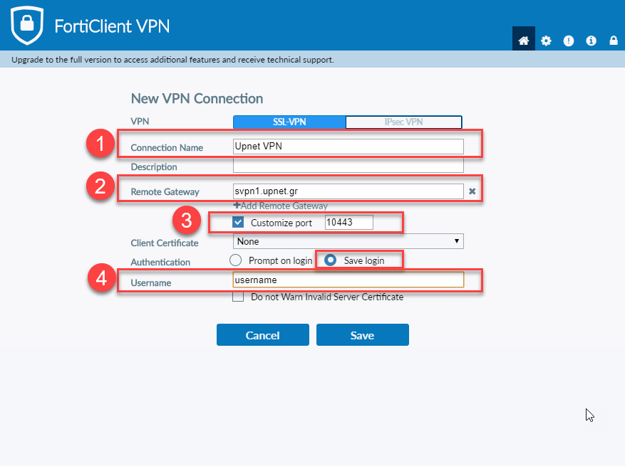Forti VPN configuration